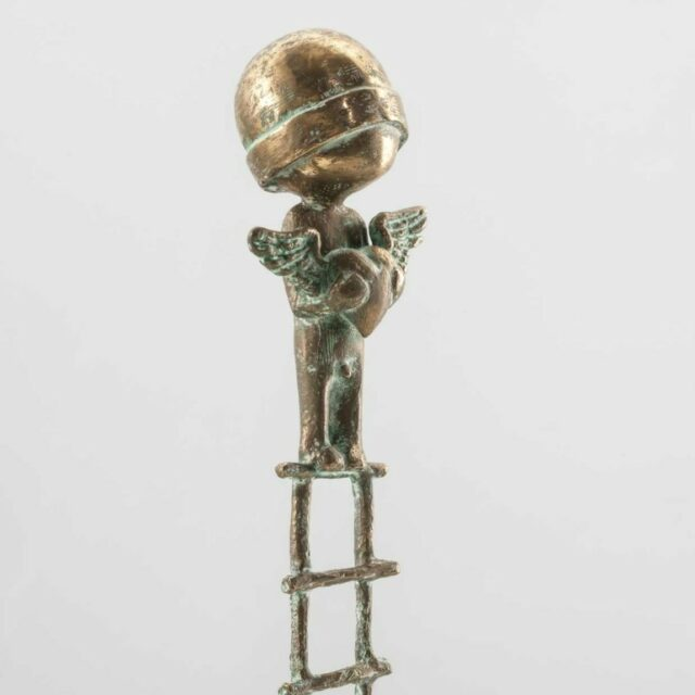 LARGE BOY WITH HEART ON LADDER by SAMUEL ALLERTON